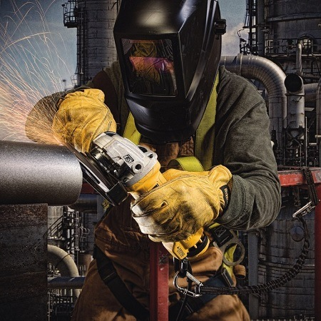 Wearing Safety Gear While Using Angle Grinder