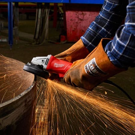 using a small angle grinder